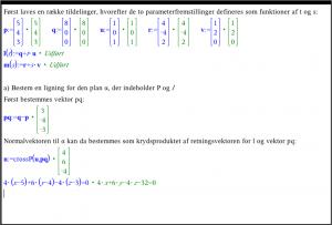 Bestem en ligning for den plan \alphaα, der indeholder P og l.