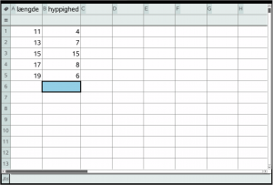 Deskriptiv statistisk eksempel i lister og regneark
