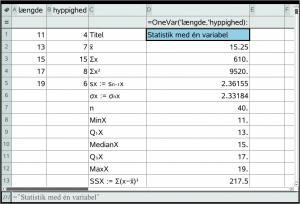 Deskriptiv statistik eksempel resultat i lister og regneark